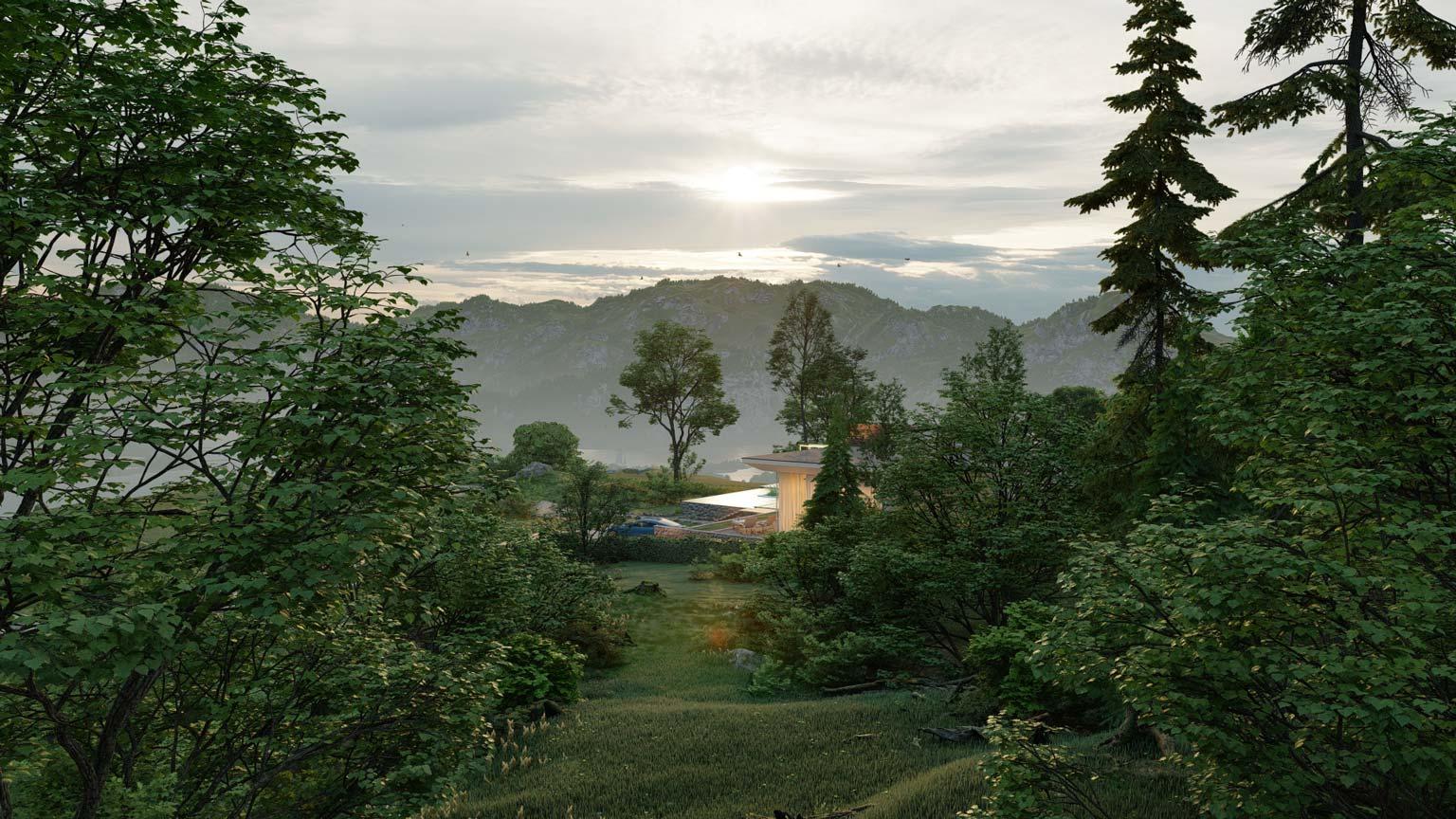 Scena della foresta con alberi renderizzati e modelli naturali, renderizzati in Lumion 10.