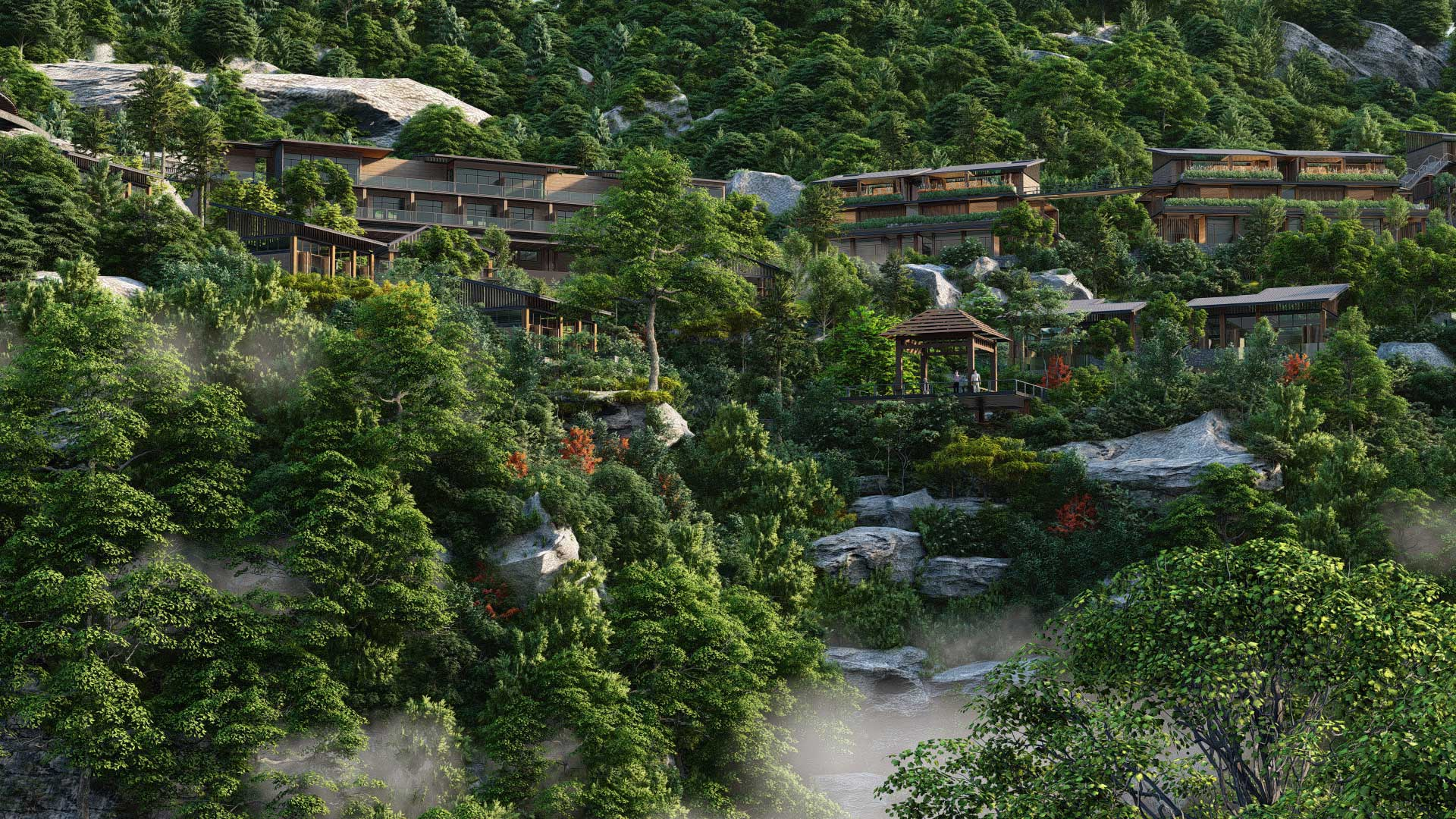 Houses on the hillside in nature