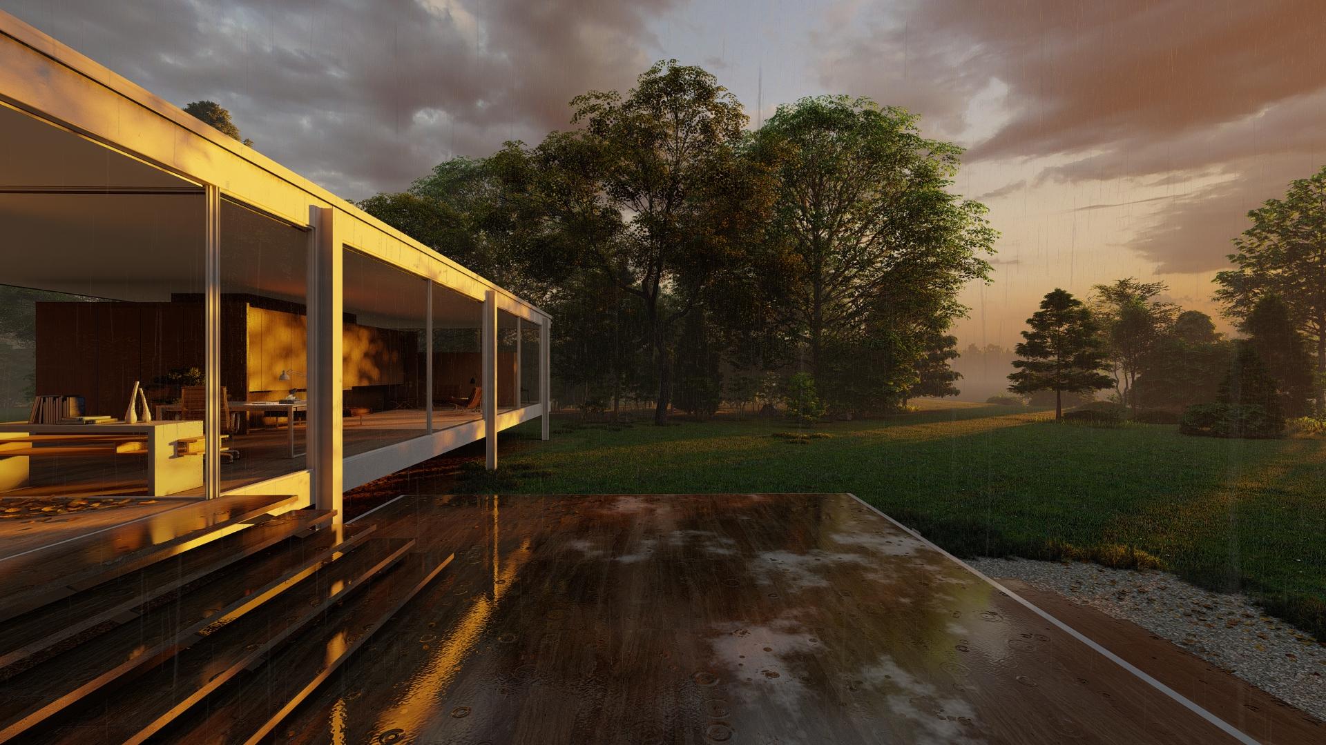 Farnsworth House on a Rainy Day