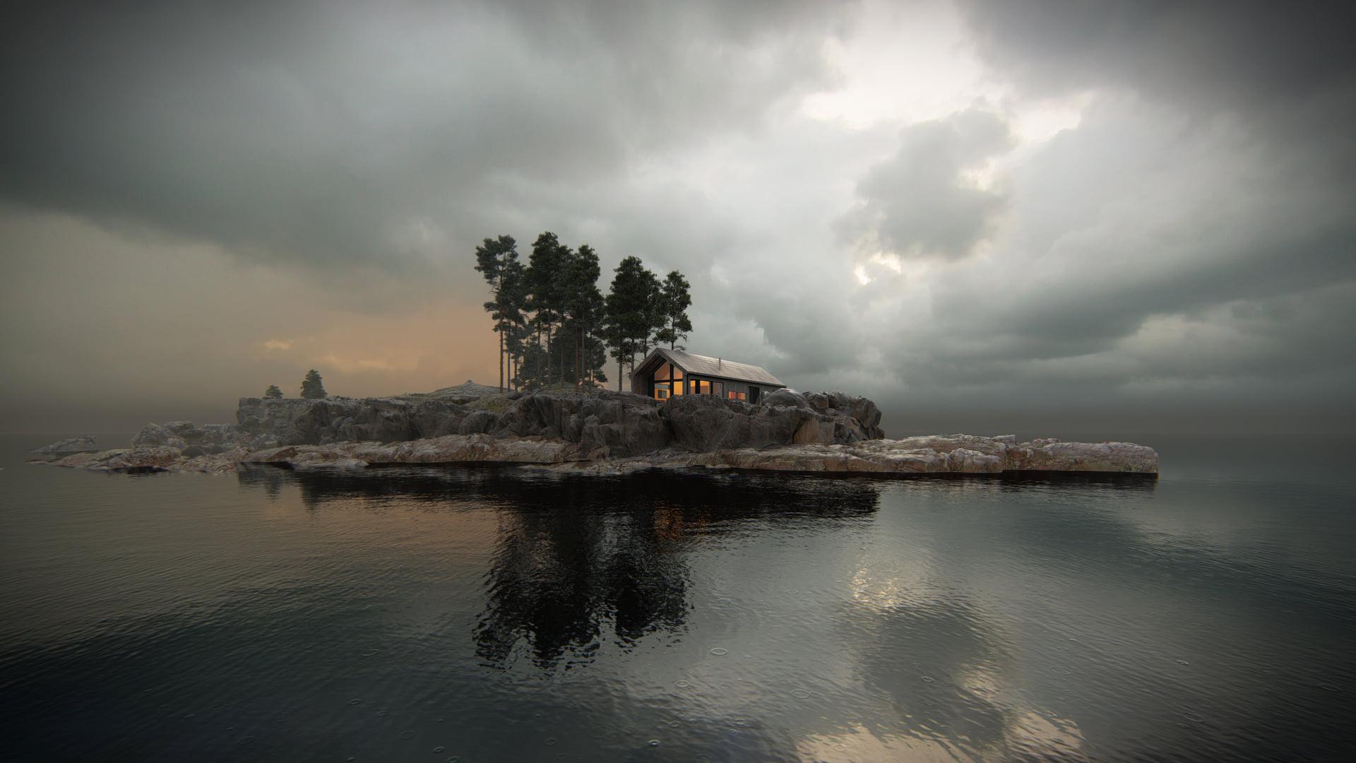 Winter cabin, designed by Vårdal Arkitekter AS and rendered in Lumion 11 by Bartosz Orliński .
