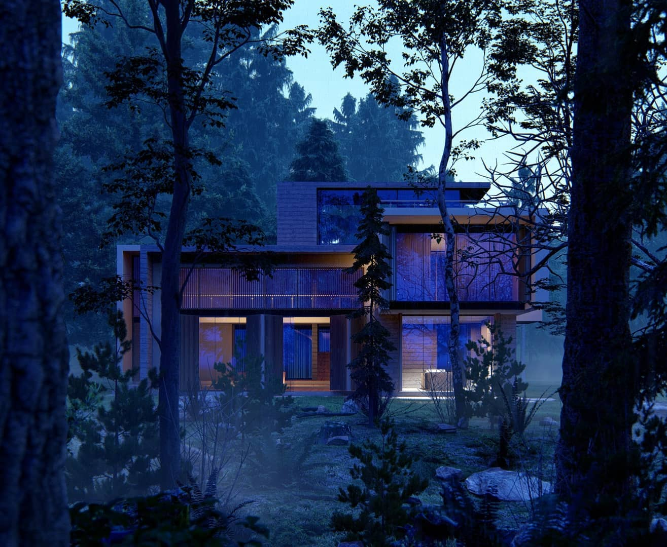 House in the woods (evening lighting), rendered in Lumion 11 by Gui Felix - Lumion Expert .