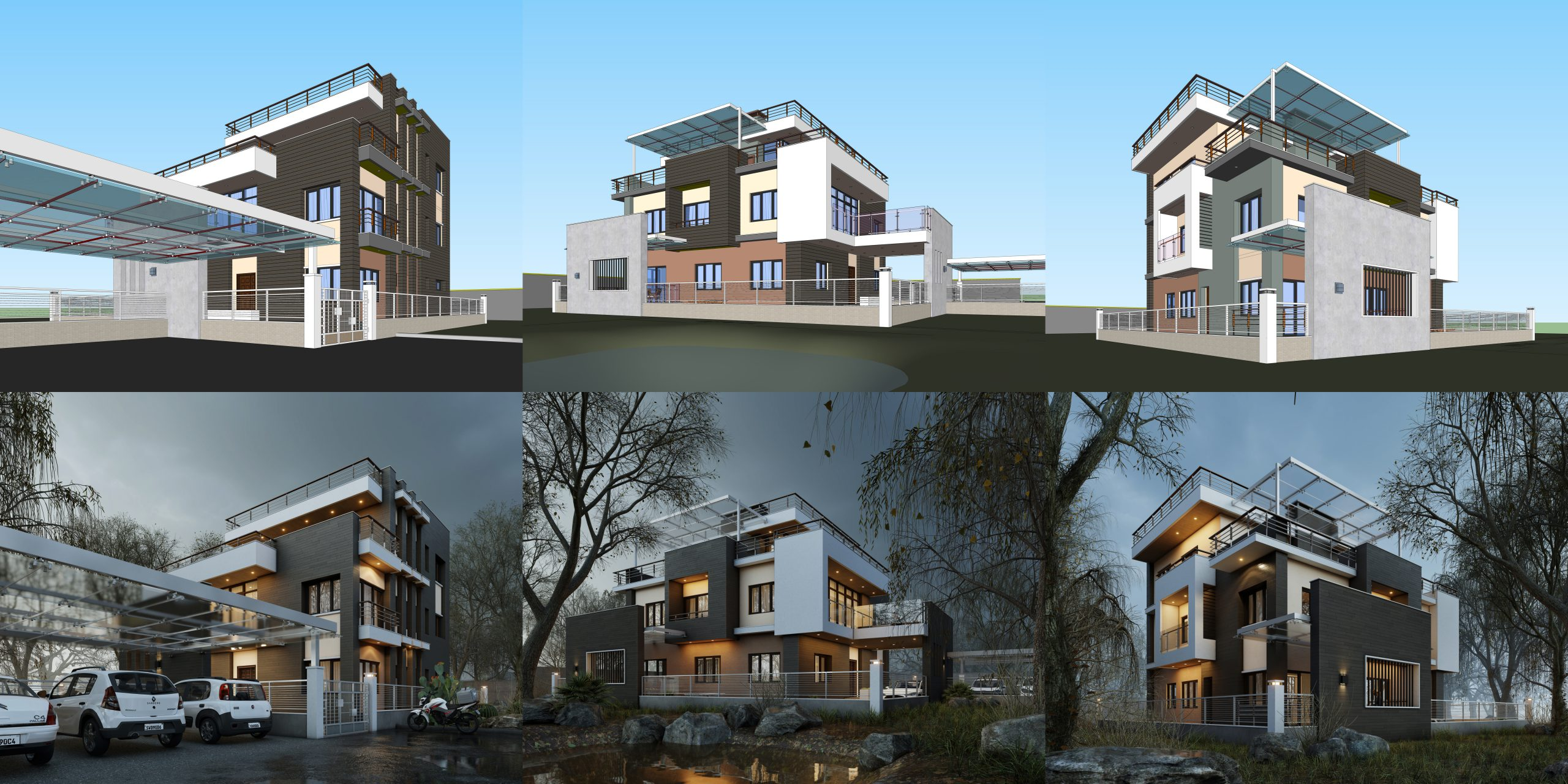 Three dramatic before/after views, rendered in Lumion by Suraj Karki (Instagram: @_yesk).