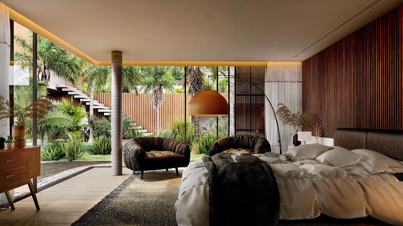 Lazy sunny morning, rendered in Lumion by Gui Felix (project by Marcio Kogan of MK27).