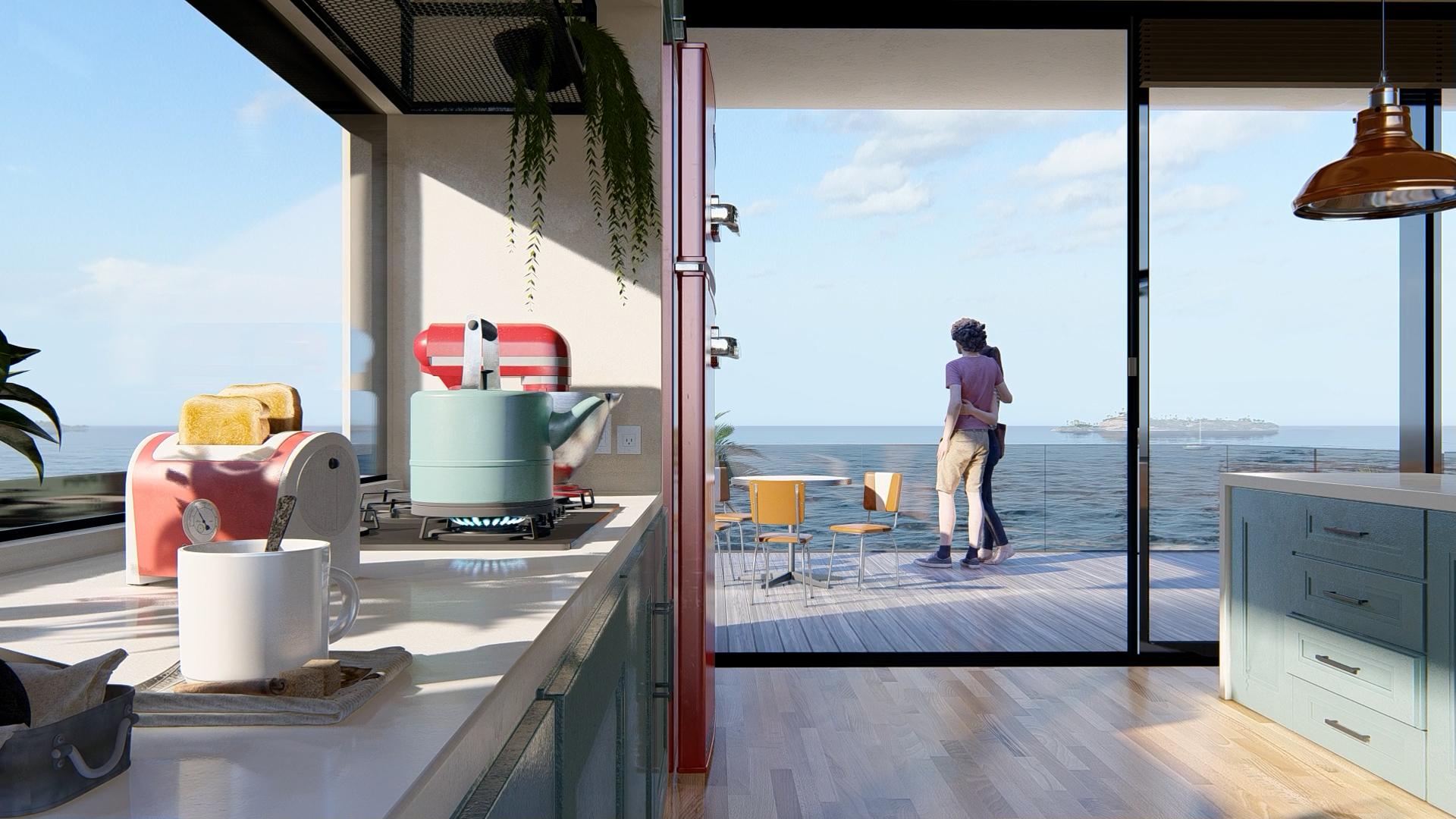 Primo piano di nuovi oggetti in cucina: tostapane, teiera, frullatore