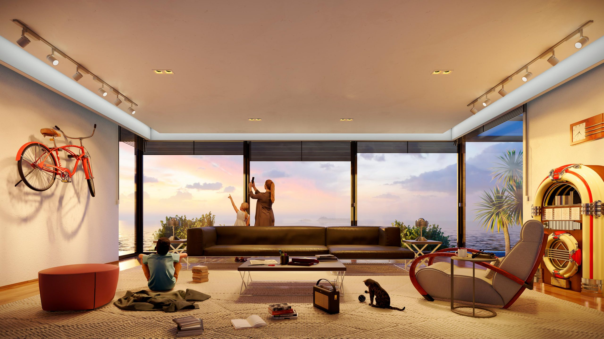 Soggiorno al tramonto. Interno della casa residenziale che mostra i nuovi oggetti e i nuovi personaggi in Lumion 11.5