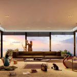 Living room (wide) interior with joyful new characters and retro-inspired objects, available in Lumion 11.5