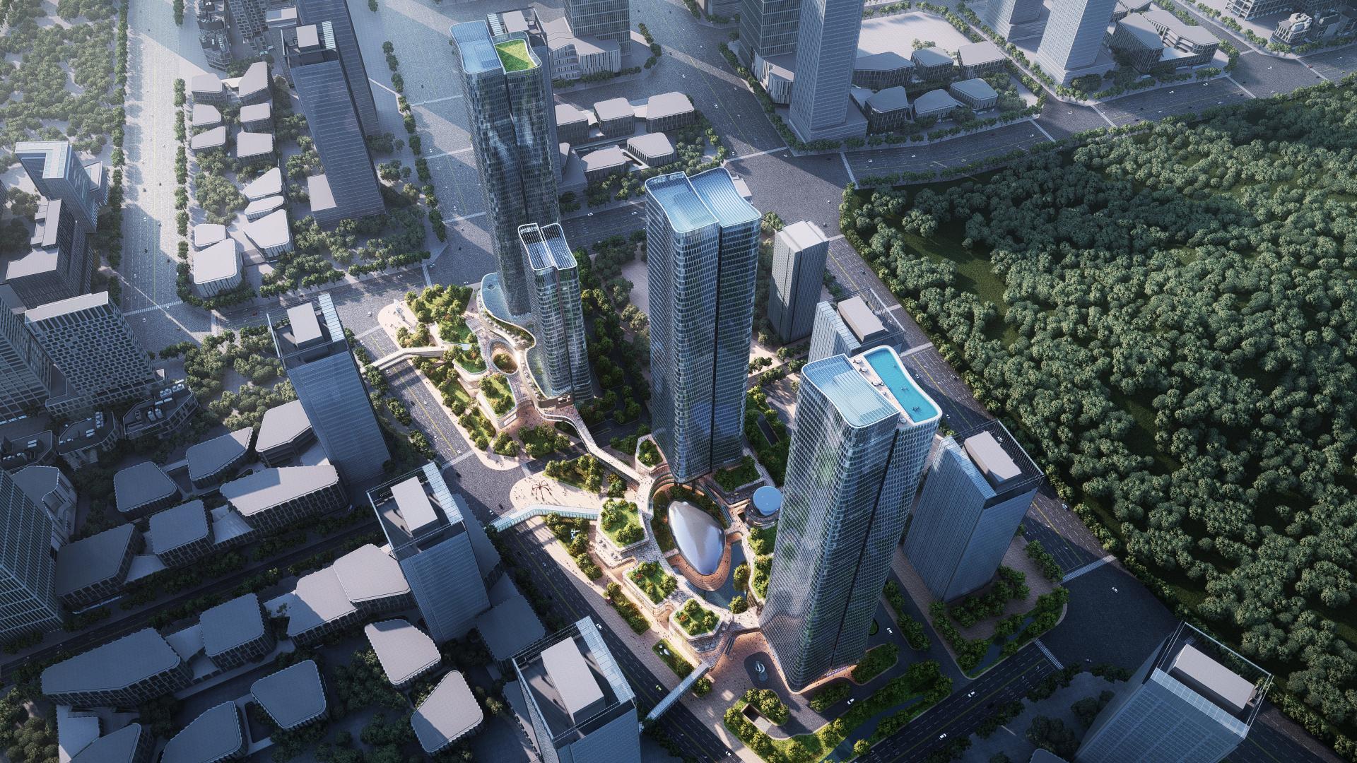 Zhuhai Hengqin International Business Center. Design and Project Architect: Aedas. Client: Zhuhai Da Heng Qin Company Limited.