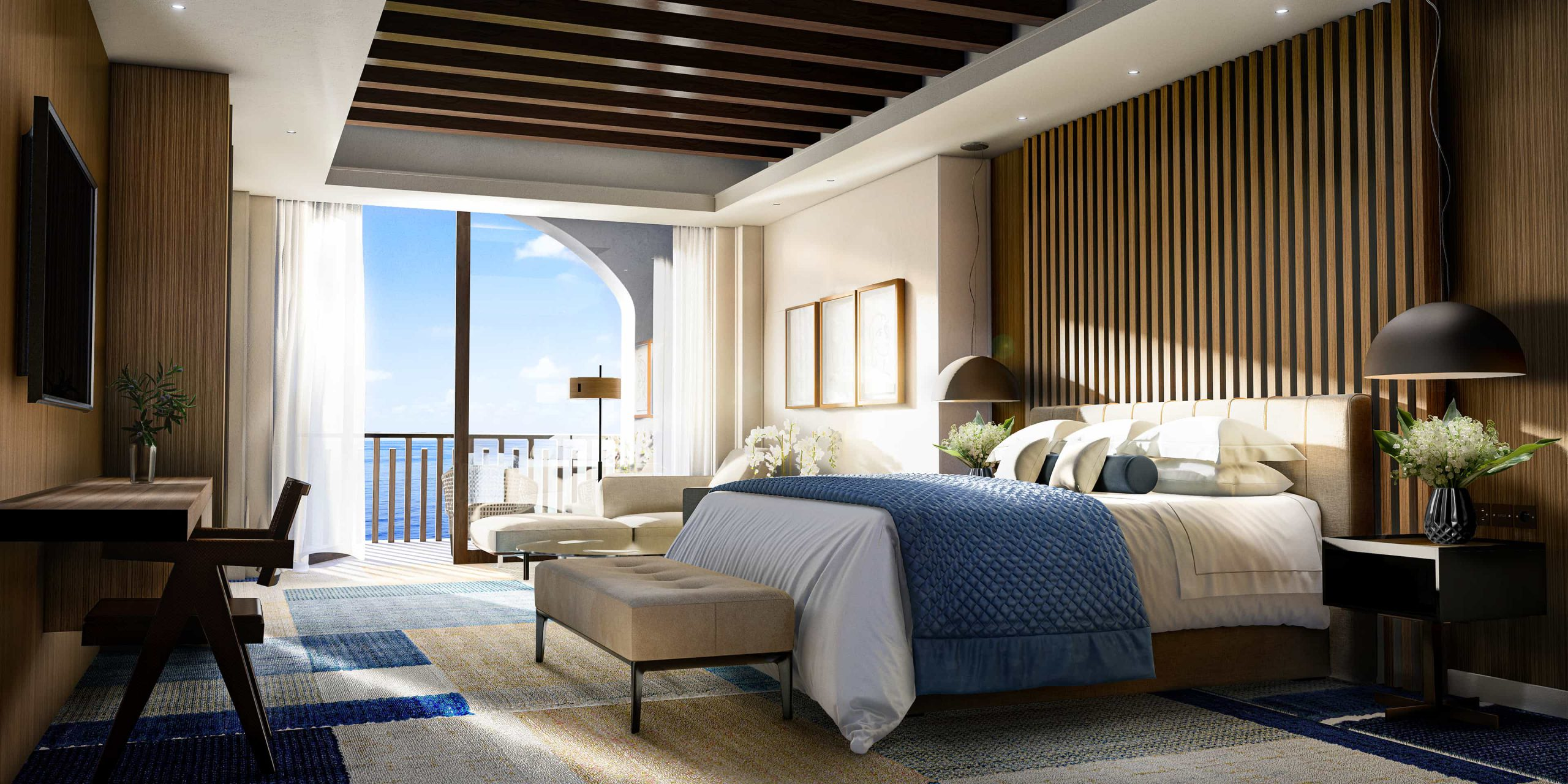 Bedroom, Hotel Le Mas. Rendered in Lumion by Ten Over Media.