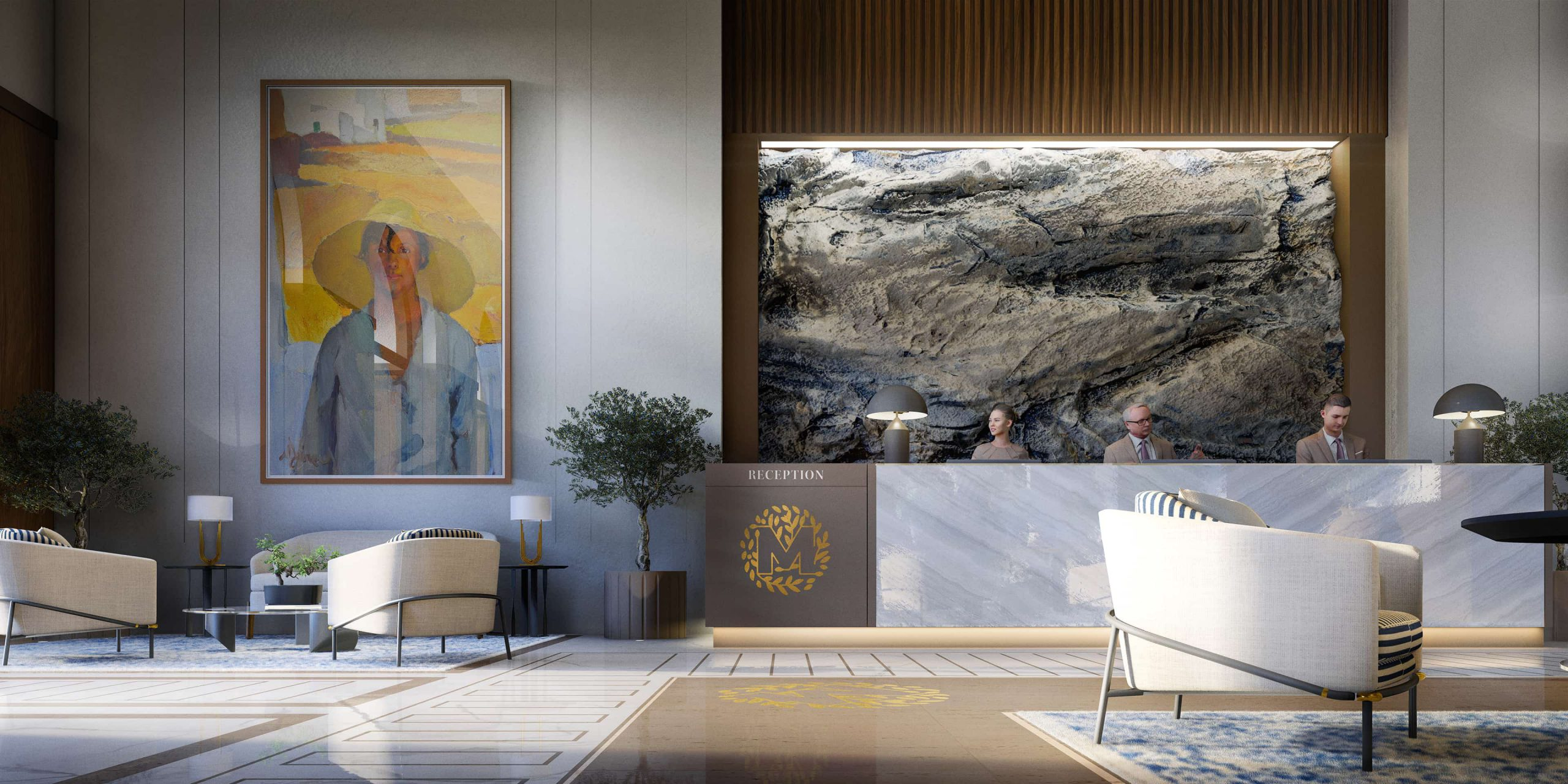 Lobby, Hotel Le Mas. Rendered in Lumion by Ten Over Media.