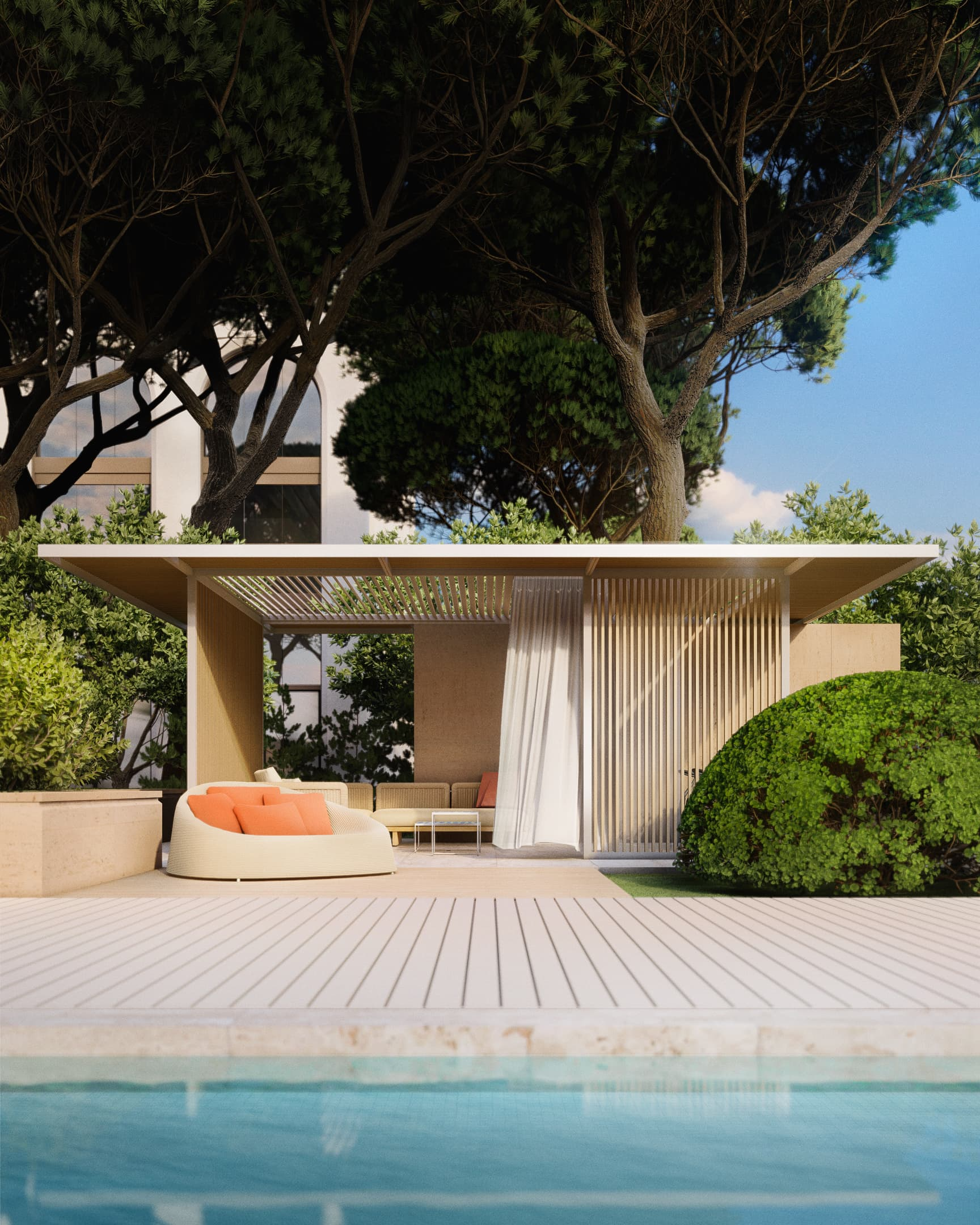 Poolside, Hotel Le Mas. Rendered in Lumion by Ten Over Media.