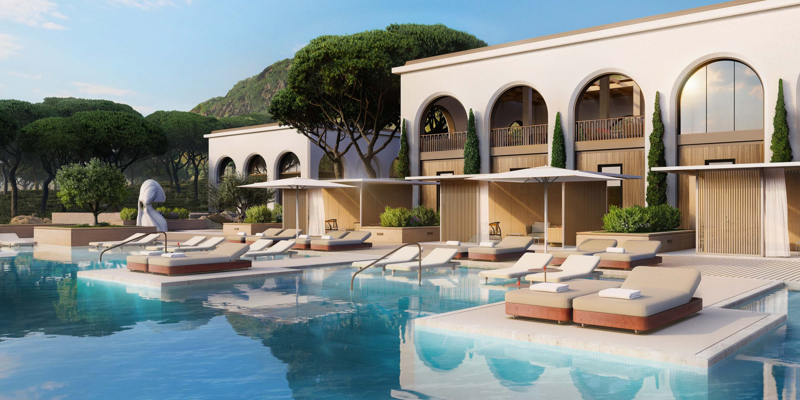 Side view of the pool, Hotel Le Mas. Rendered in Lumion by Ten Over Media.