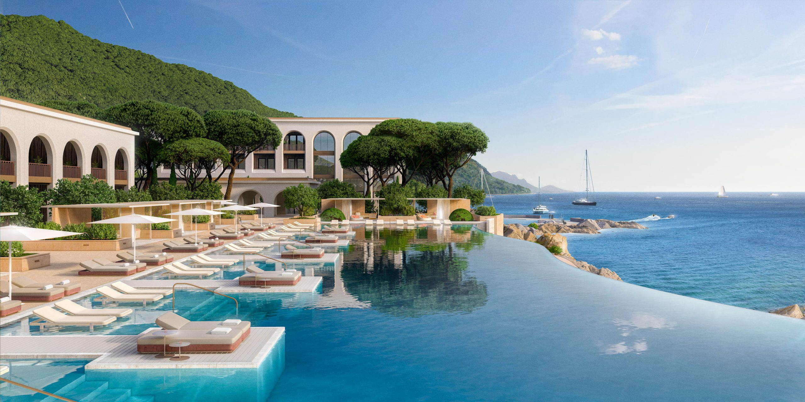 Hotel pool and coastline, Hotel Le Mas. Rendered in Lumion by Ten Over Media.