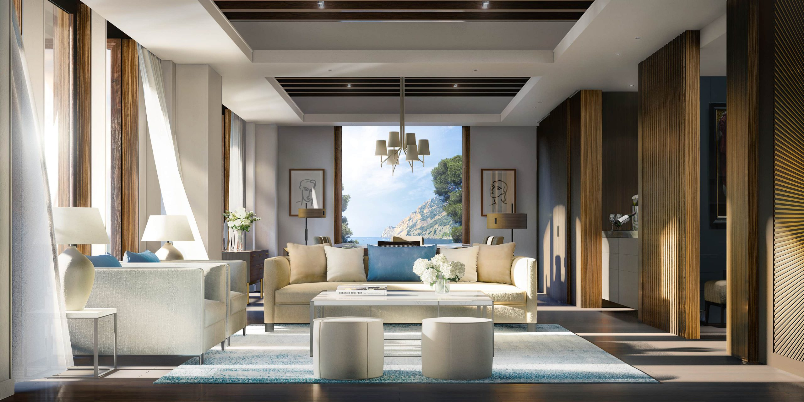 Living Room, Hotel Le Mas. Rendered in Lumion by Ten Over Media.