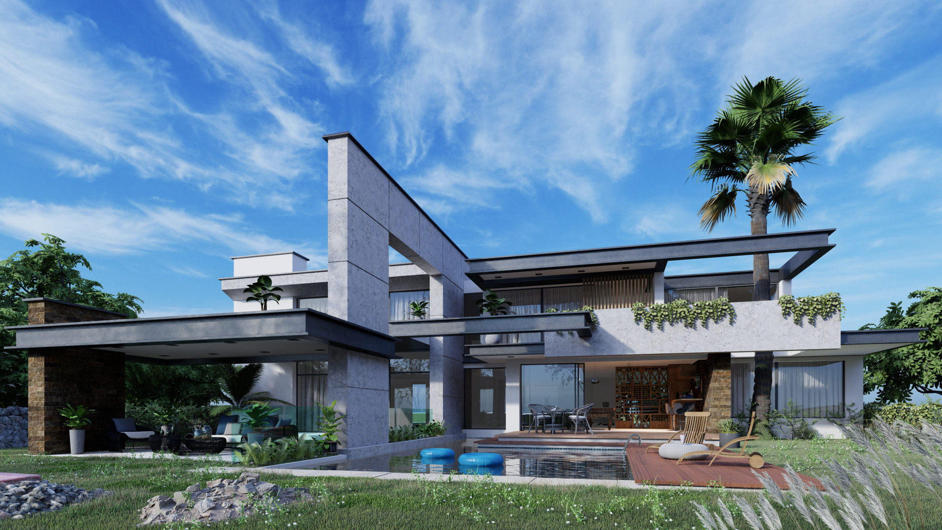 Real Sky Villa, rendered in Lumion by Gui