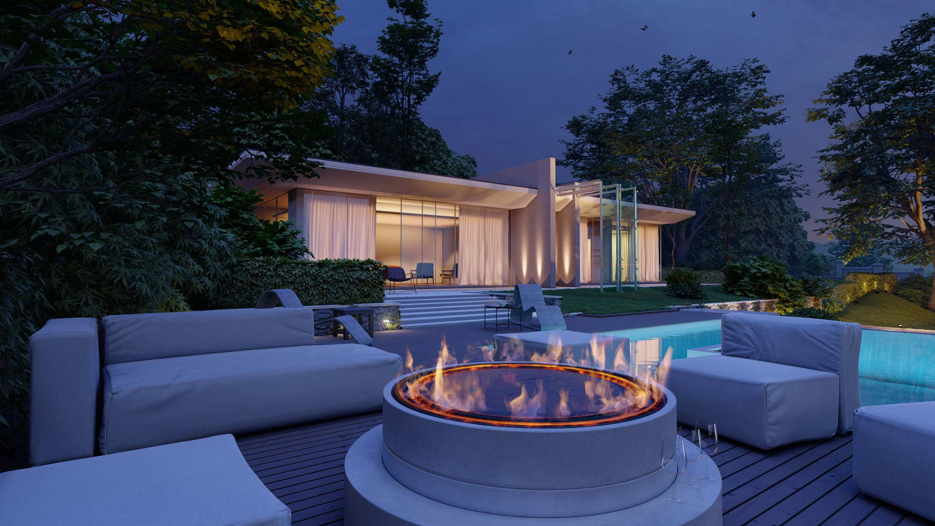 Residential house with outdoor fire pit