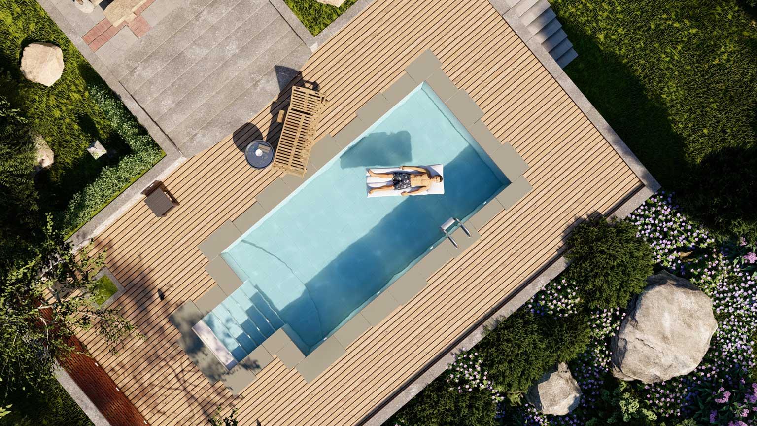 Pool bird-eye-view shot