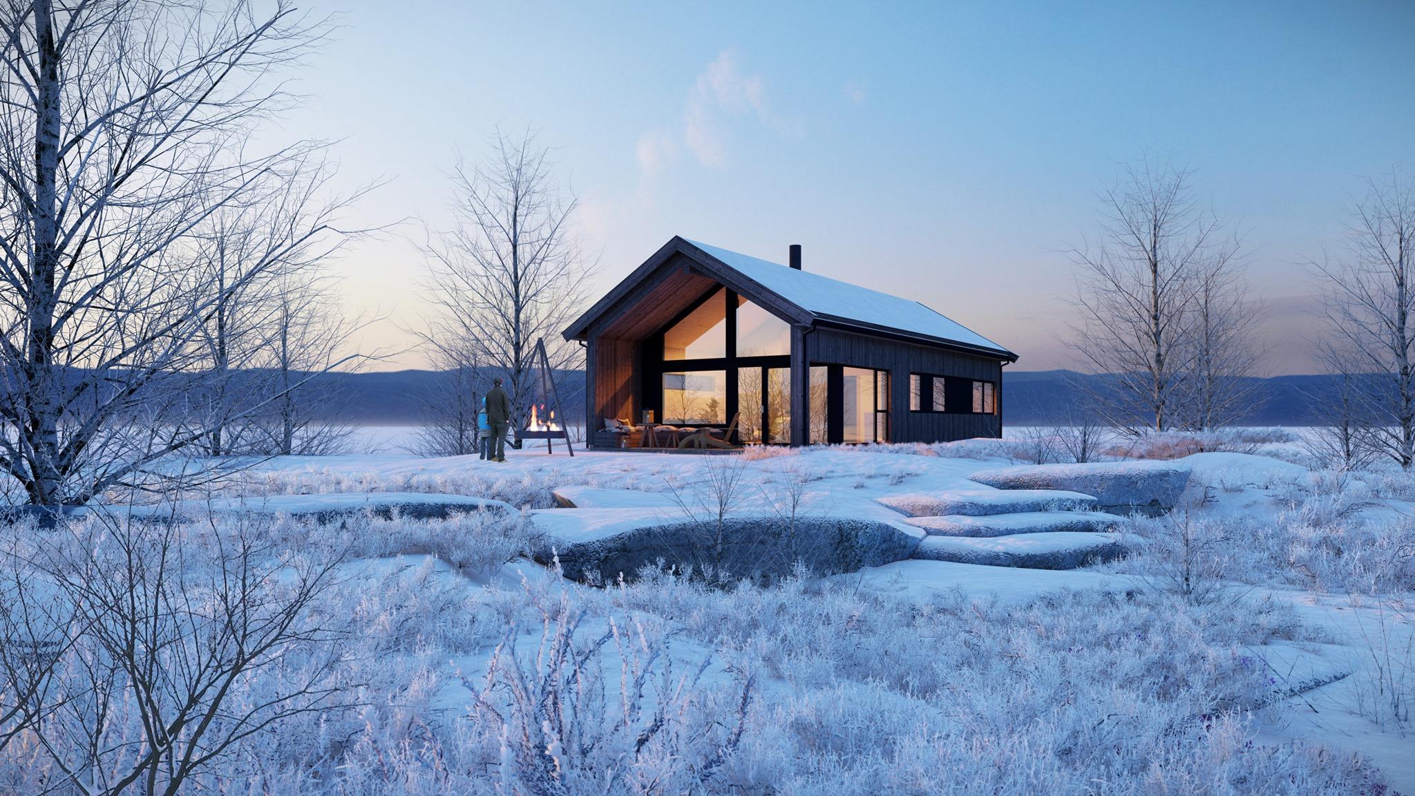 Winter cabin in Norway, rendered in Lumion 11 by Bartosz Orliński and designed by Vårdal Arkitekter AS).
