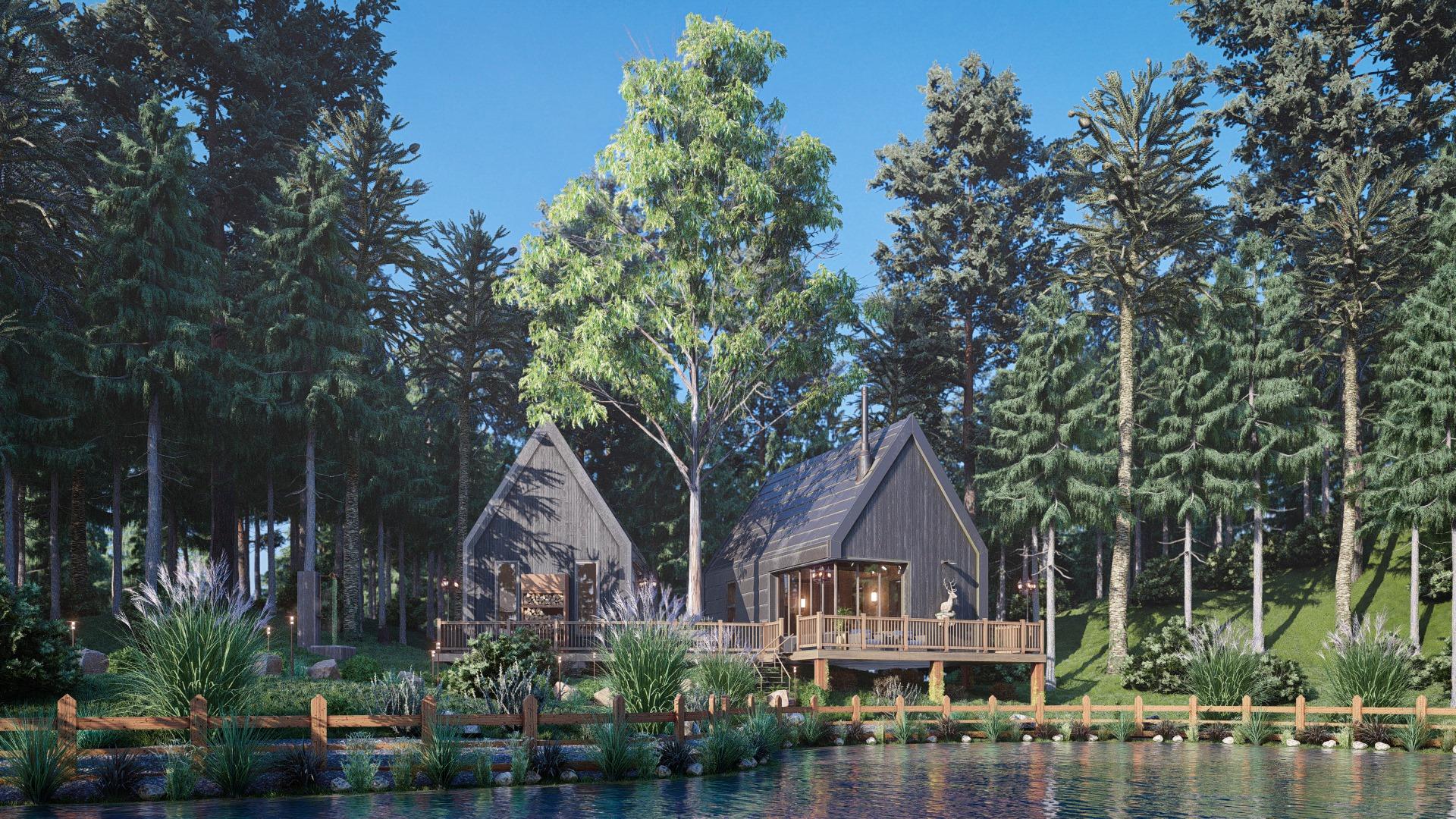 Cabina sul lago, resa in Lumion da Arsalan Mohaghegh Honarvar di Honarvar Design Studio.