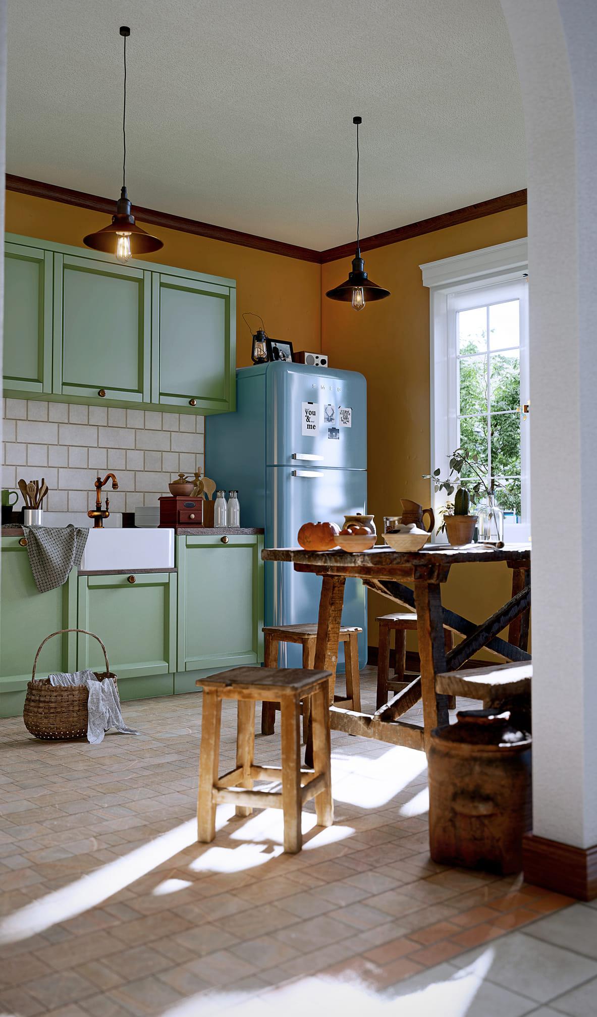 Cucina vintage, resa in Lumion da Aditya Pradana.