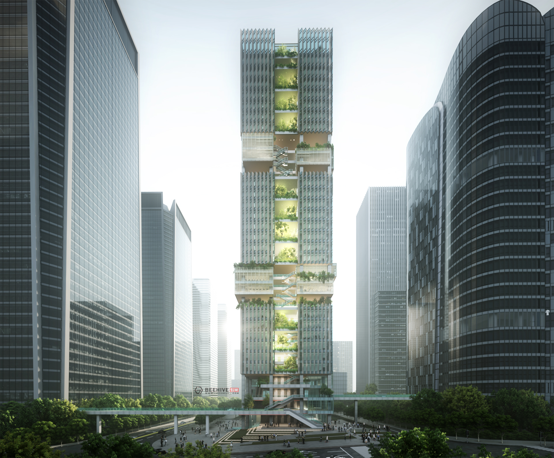Shenzhen Transsion Tower, design by Aedas. Rendered in Lumion by Beehive