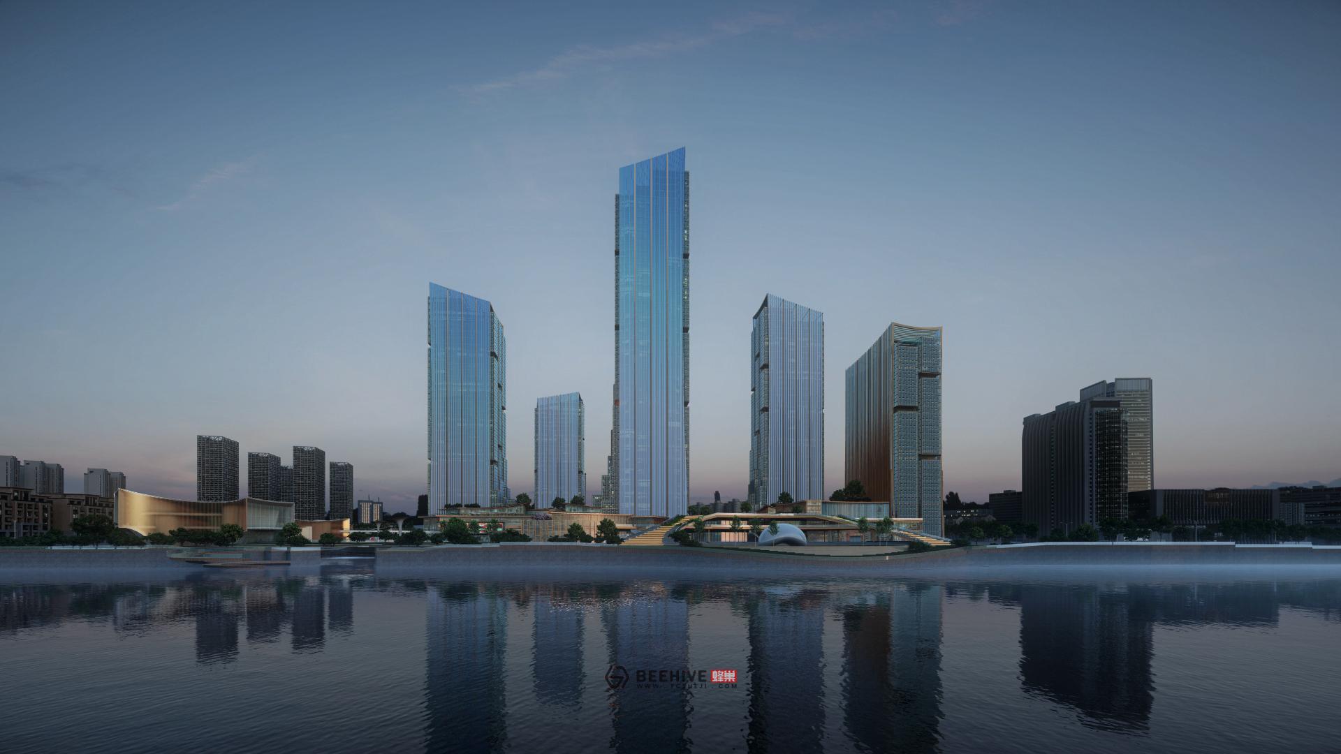 Hangzhou Fuyang Plot 73 Core Area Concept Design. Design by Aedas. Render by Beehive.