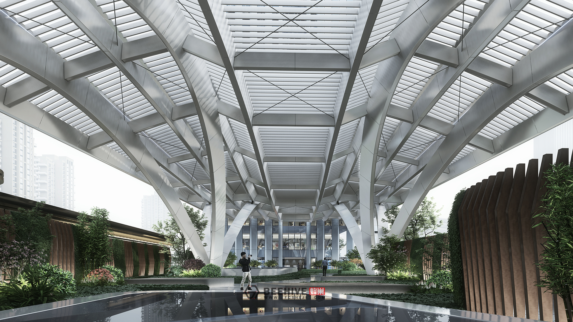 Wuhan Founder International Financial Center, design by Aedas. Render by Beehive.